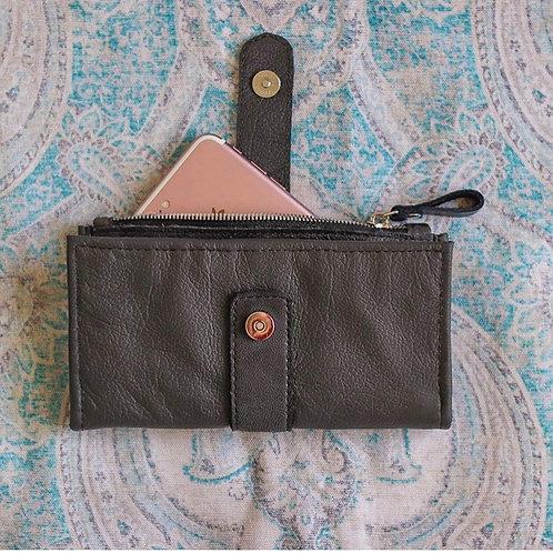 Custom sea foam & pink leather wallet
