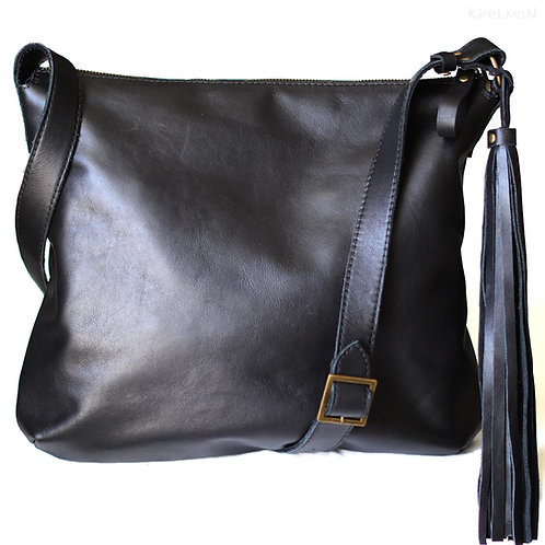 "Soho. Laptop 13"" black leather crossbody bag"