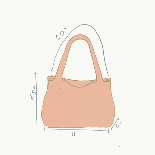 Peach suede tote bag
