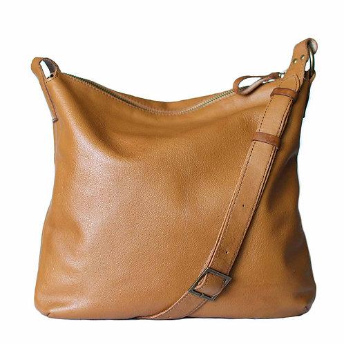 Soho camel tan leather crossbody custom bag by Khelman