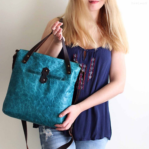 Austin. Turquoise leather crossbody tote