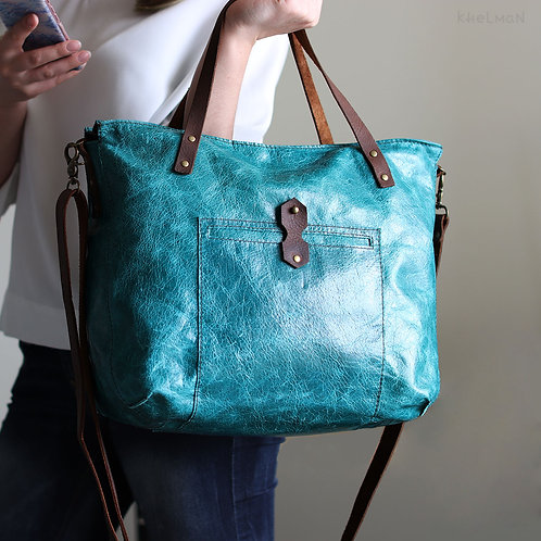 Custom made natural turquoise teal leather tote Tiberis
