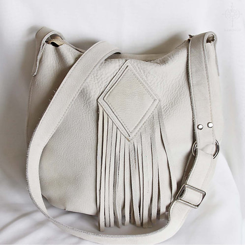 Ivy. Bone white nubuck hobo bag