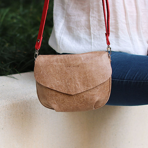 The size of Alice beige leather cross body bag