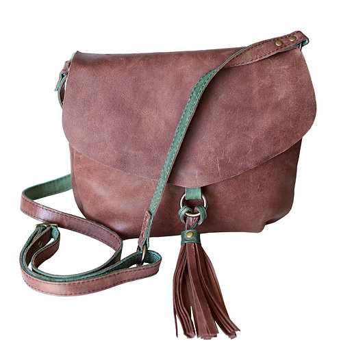 Alice bag in Burgundy brown and green leather by Khelman