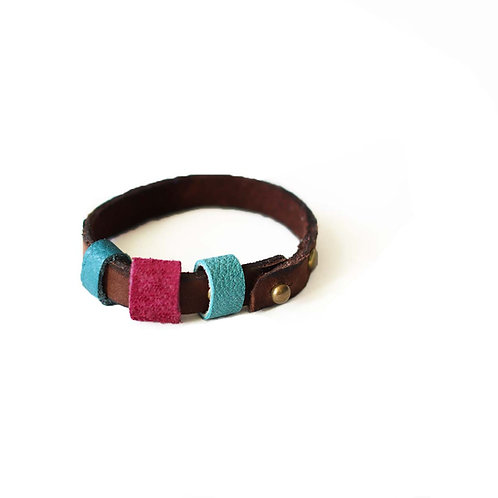 Genuine chocolate nubuck leather wrap bracelet with suede rings