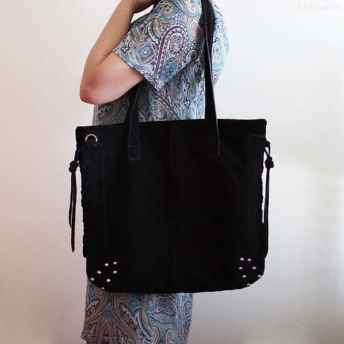 Ilene. Black suede large tote bag