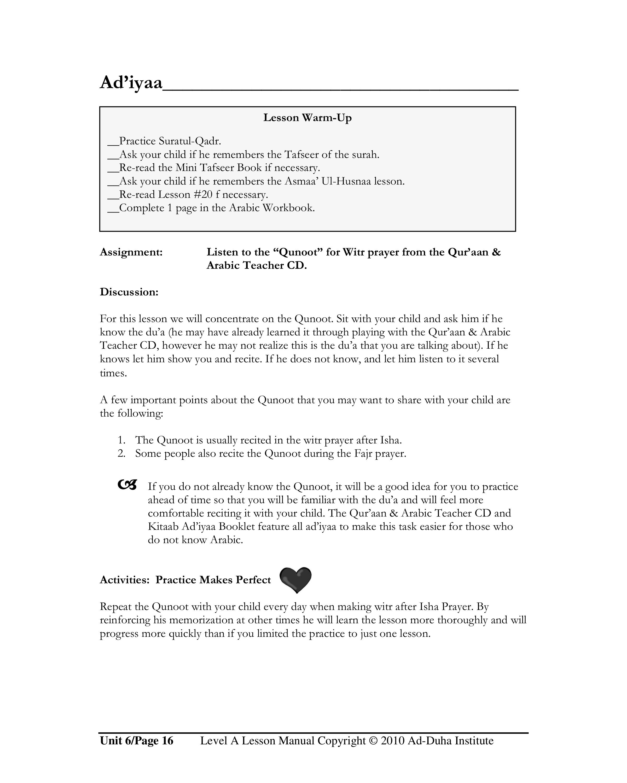 Level A Lesson Manual Part II: KG-1st Grade