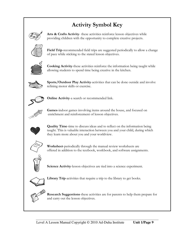 Level A Lesson Manual Part I: KG-1st Grade