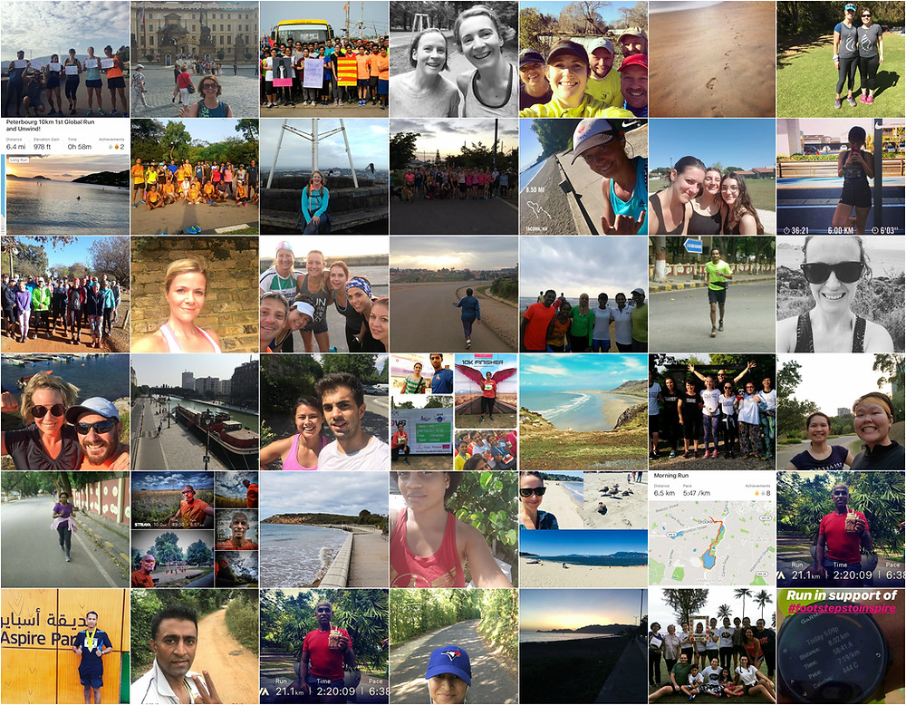 28 Countries run together on 22 July 2018 for the 1st Footsteps To Inspire Global Run