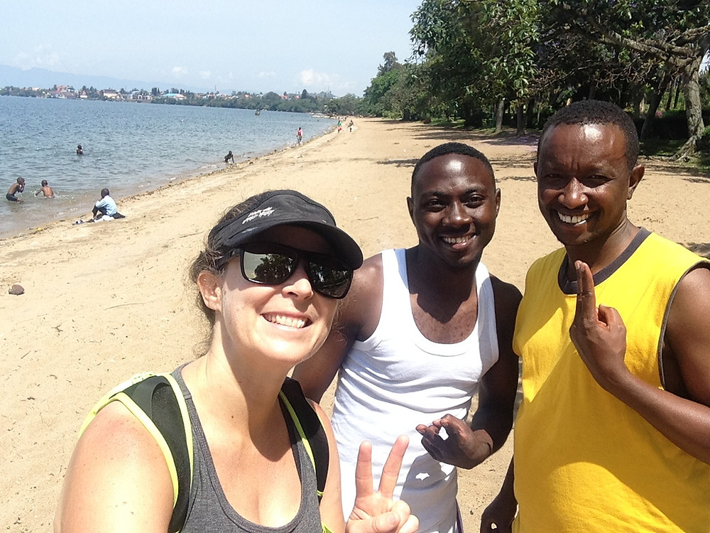 Claire McFarlane running at Lake Kivu in Rwanda
