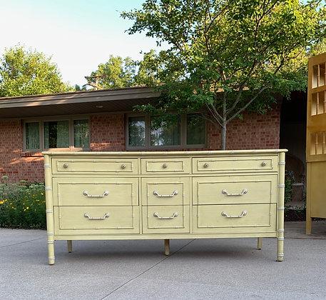"|CUSTOMIZE| Thomasville Faux bamboo dresser - 64"" long x 19"" deep x 30"" tall"