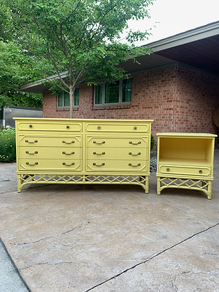 "|CUSTOMIZE| Ficks Reed Dresser & Nightstand-60"" L x 20"" D x 33-/4"" T"
