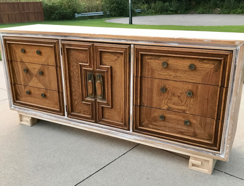Hollywood Regency Buffet With Greek Key Style Base And Brass Hardware.  Might Be Cool To Keep The Door Hardware And Update The Drawer Hardware