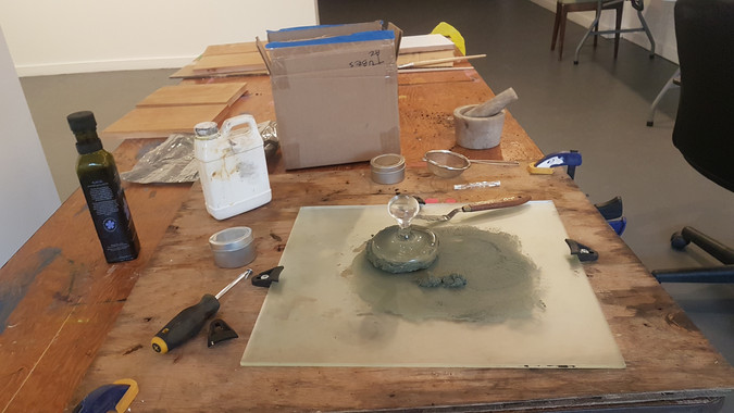 Mixing green shale into paint