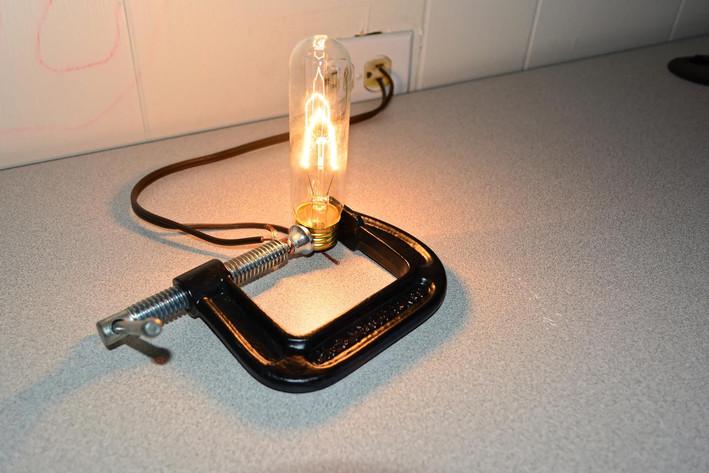 Improvised light fixture desk lamp