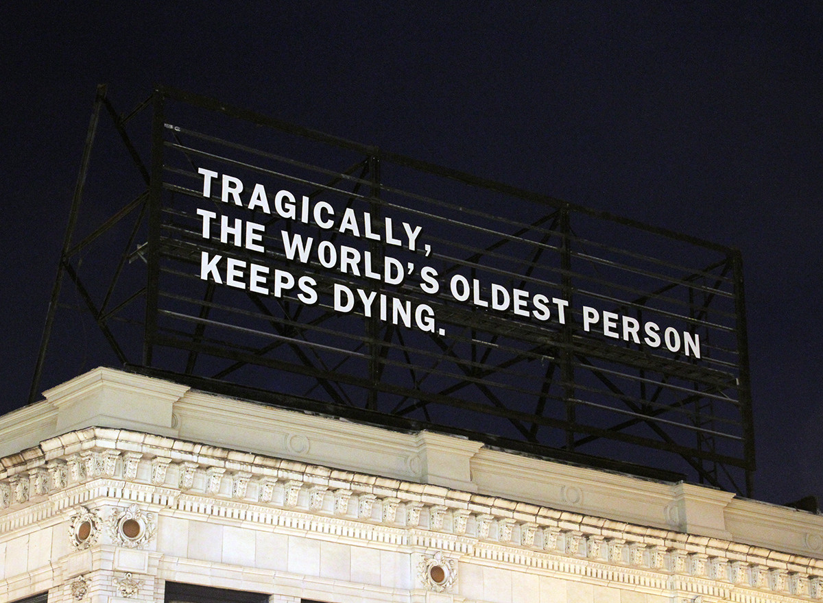 POSTER: Lenka Clayton | Tragically, The World's Oldest Person Keeps Dying, 2020