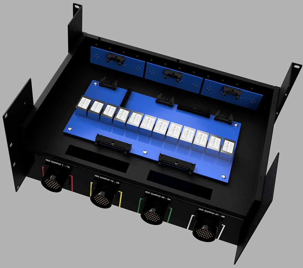 Compact audio splitter for studio and touring. 48 Inputs, galvacic isolated outputs with Lundahl transformers.