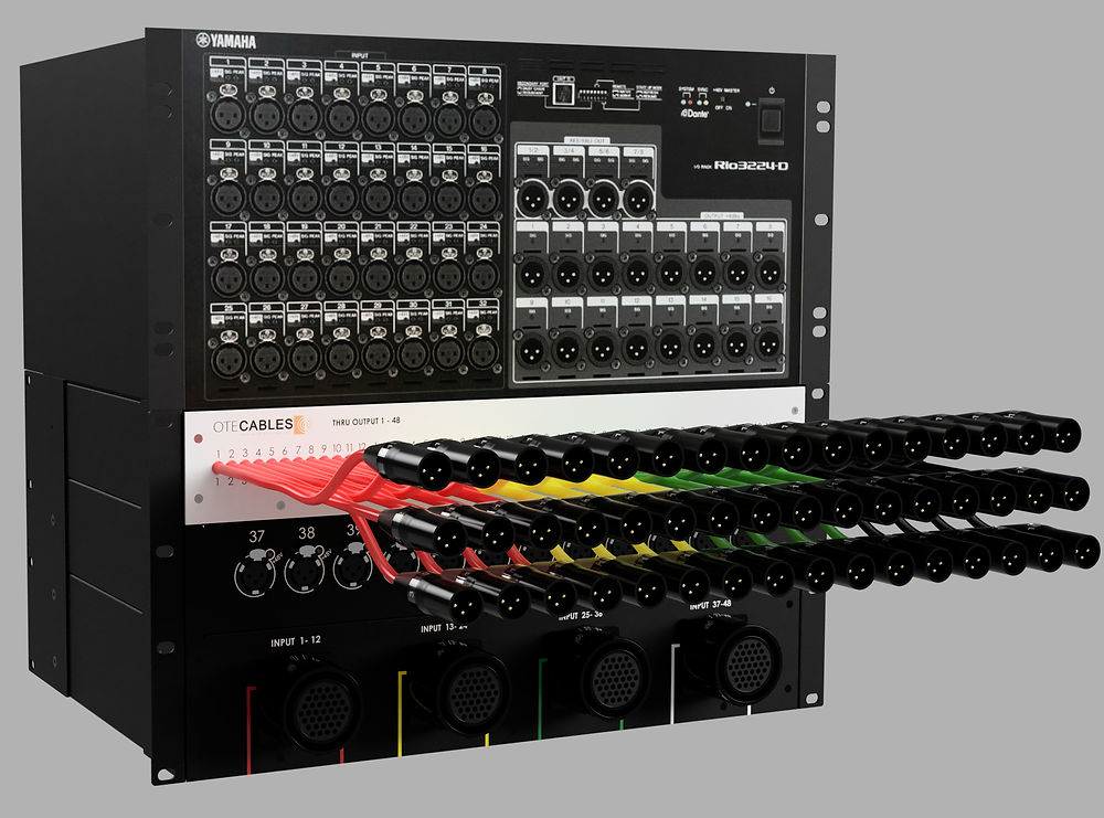 Compact audio splitter for studio and touring. 48 Inputs, phanthom power isolated outputs or galvacic isolated outputs with Lundahl transformers.