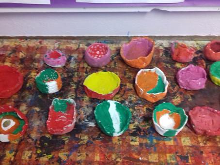 Pinch pots in 4th/5th class