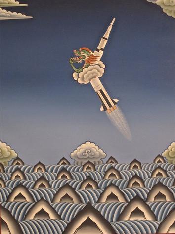 Exploding Rocket over the Ocean