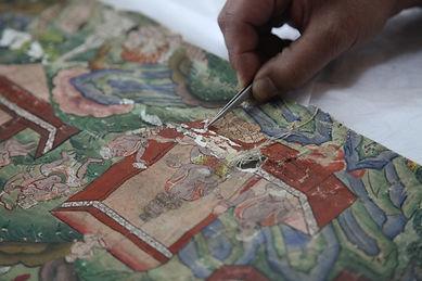 conserving an 18th C mural.JPG