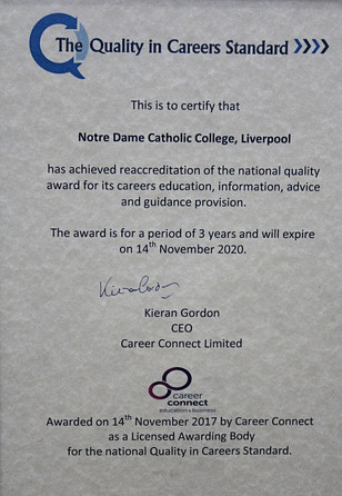 Notre Dame receives The Quality in Careers Standard Award