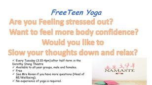 Teen Yoga starts on Tuesday 25th February