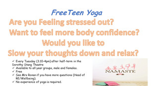 Teen Yoga starts on Tuesday 25th February