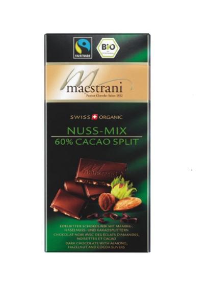 Tafelschokolade Nuss-Mix, 60% Cacao Split