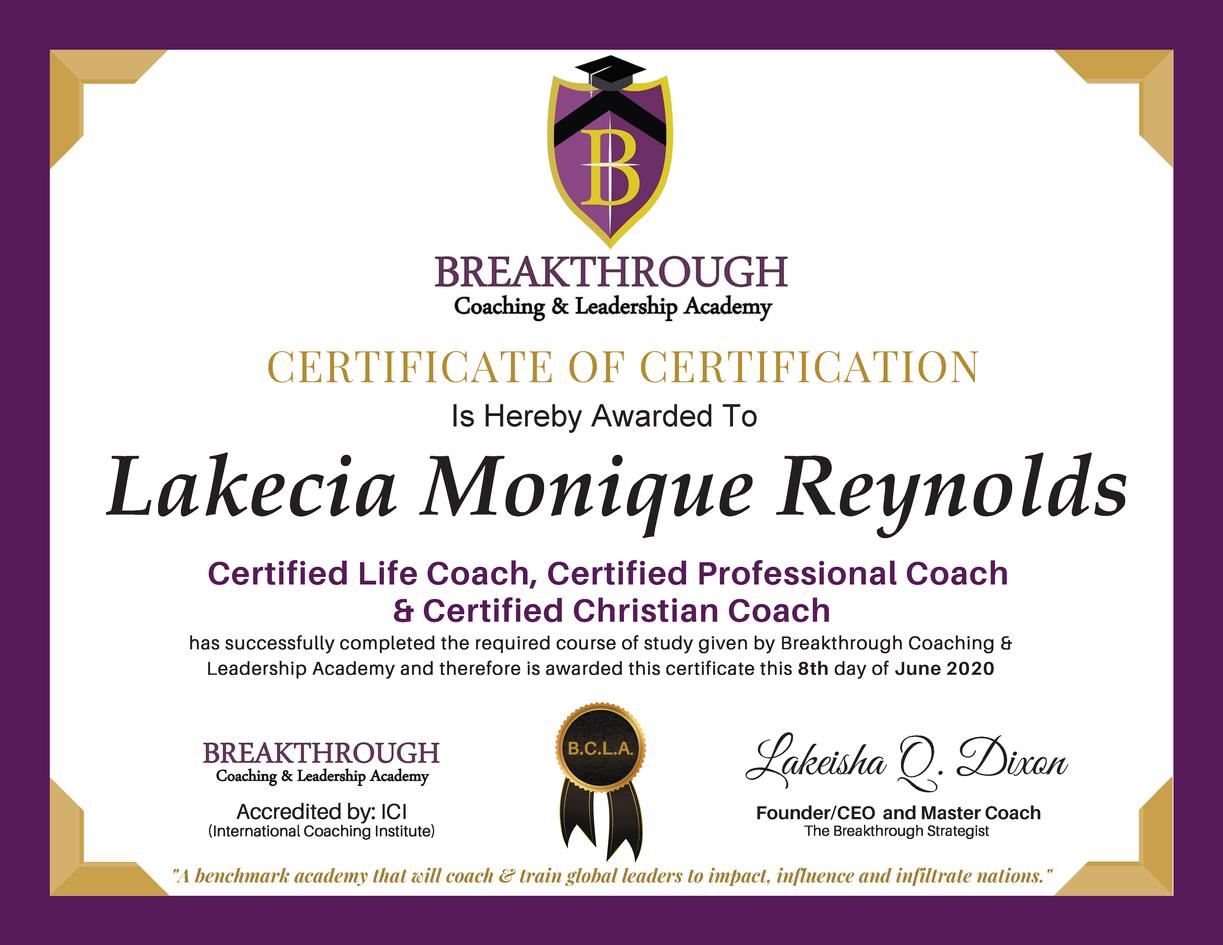 Coaching Certificate of Certification