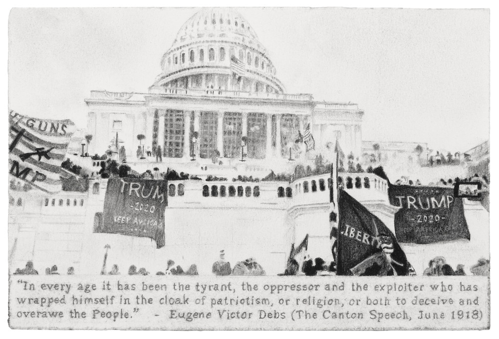 """The image is a drawing of the DC capitol building with Trump banners draped over the walls and text by Eugene Victor Debs below the image. The text reads """"In every age it has been the tyrant, the oppressor and the exploiter who has wrapped himself in the cloak of patriotism, or religion, or both to deceive and overawe the People."""""""