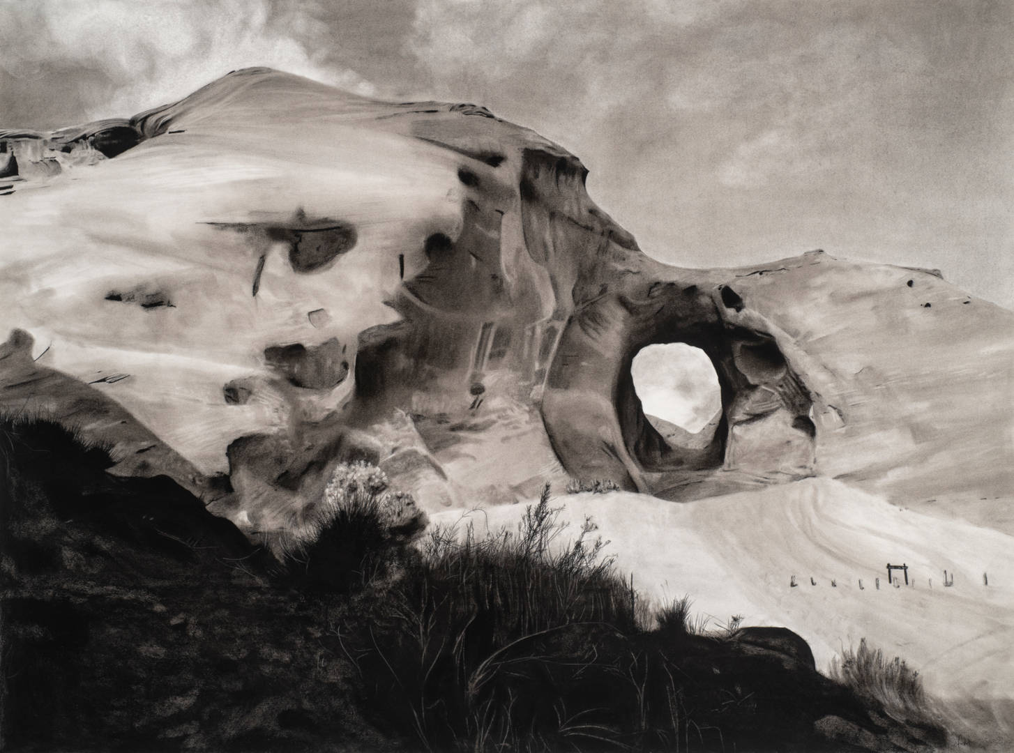 """""""Monument Valley"""" Charcoal and graphite on paper 42-1/2"""" x 57"""""""