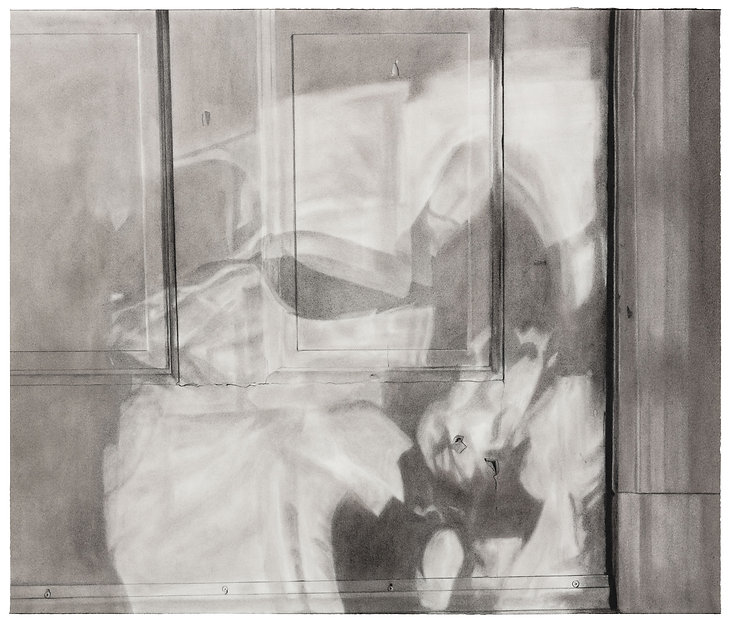 A charcoal drawing of shadows cast by the sun onto the bottom of a door in the early morning