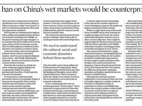 Ban on China's wet markets counterproductive response to coronavirus pandemic