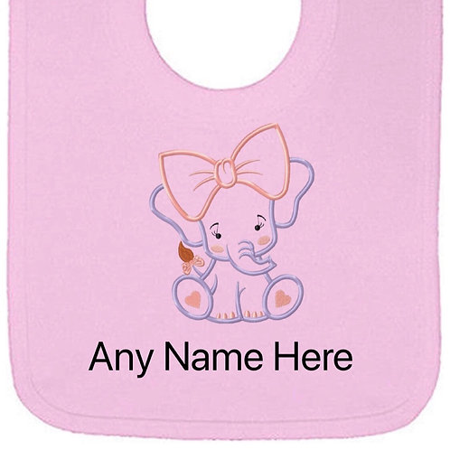 Girl elephant design personalised bib