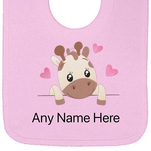 Giraffe hearts designs personalised bib