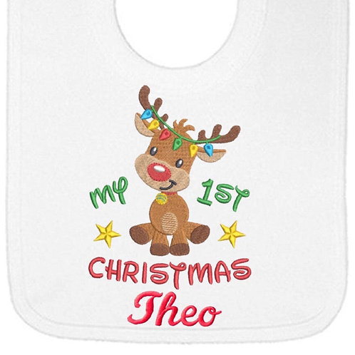 1st Christmas design 1 personalised bib