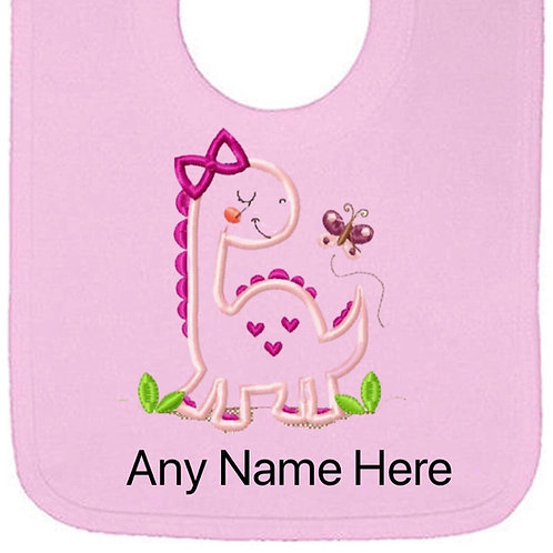 Pink dinosaur design personalised bib