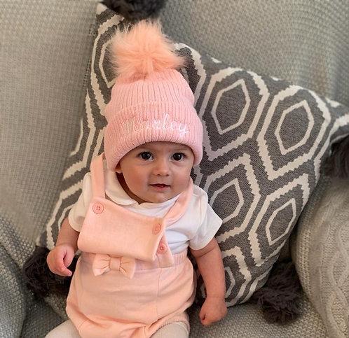 Pink fur Pom Pom hat
