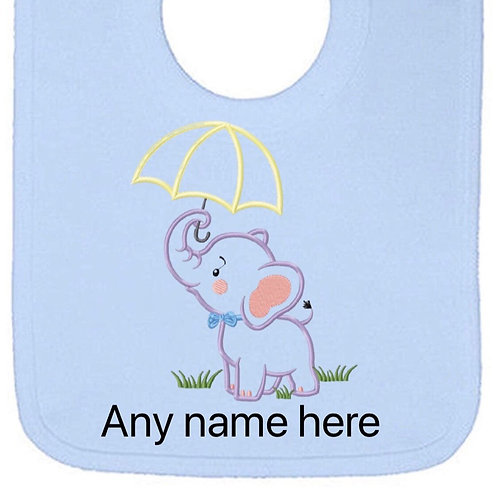 Boy elephant design personalised bib