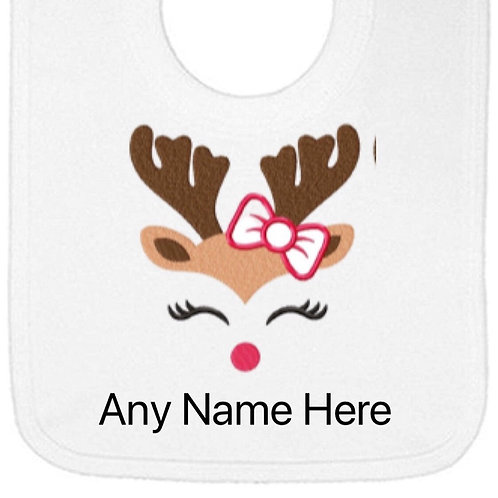 Reindeer with bow designs personalised bib