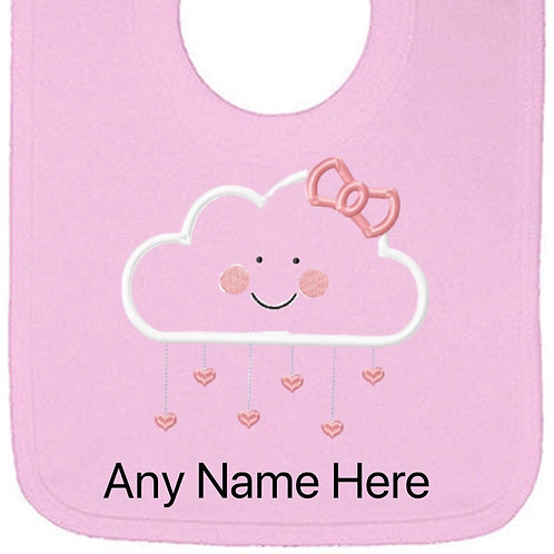 Cloud with bow design personalised bib
