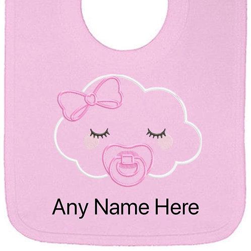 Pink cloud design personalised bib