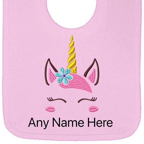 Unicorn design personalised bib