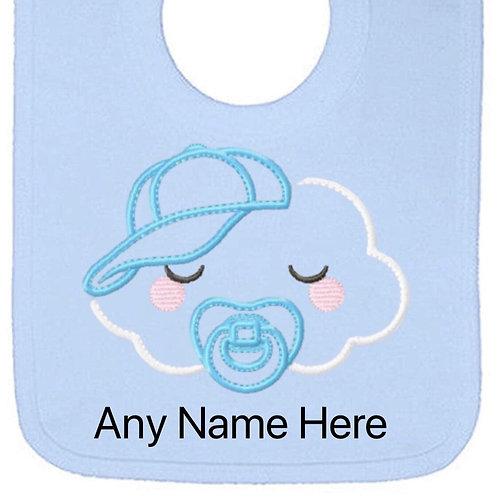 Blue cloud designs personalised bib