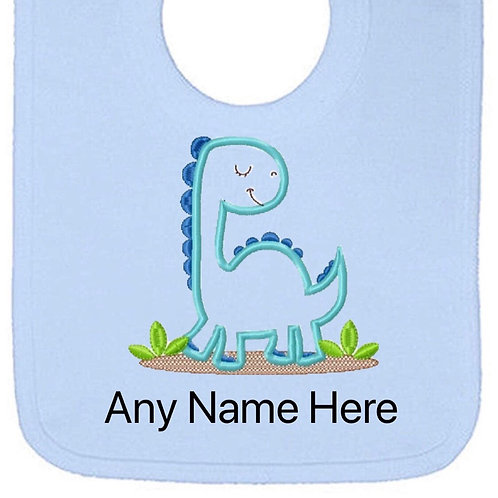 Blue dinosaur design personalised bib