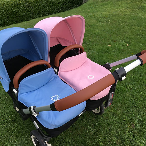 Double pram handles and 2x bumper set