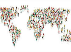 picture showing map of world and people