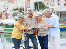 group of retired people on holiday